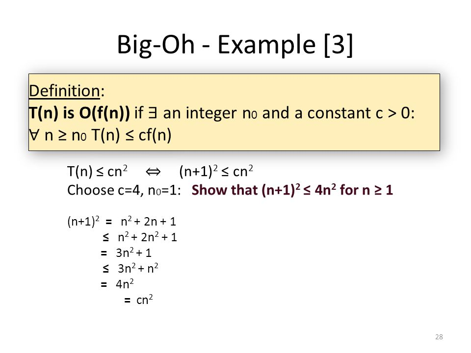 Big-Oh - Example [3] Definition: